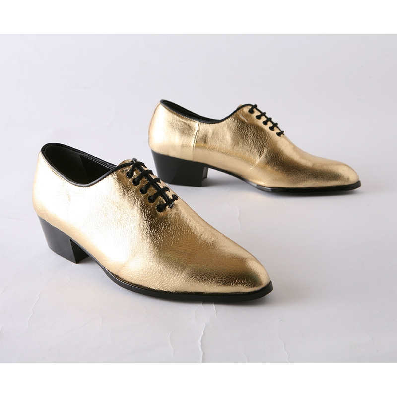 Men S Pointed Toe Glitter Gold 5 Eyelet Lace Up High Heels