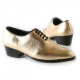 Men's pointed toe glitter gold 5 eyelet lace up high heels oxfords