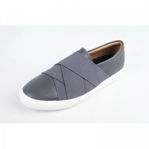 Men's gray synthetic leather slip-on no