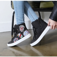 Women's synthetic leather patched lace up high tops fashion sneakers black white