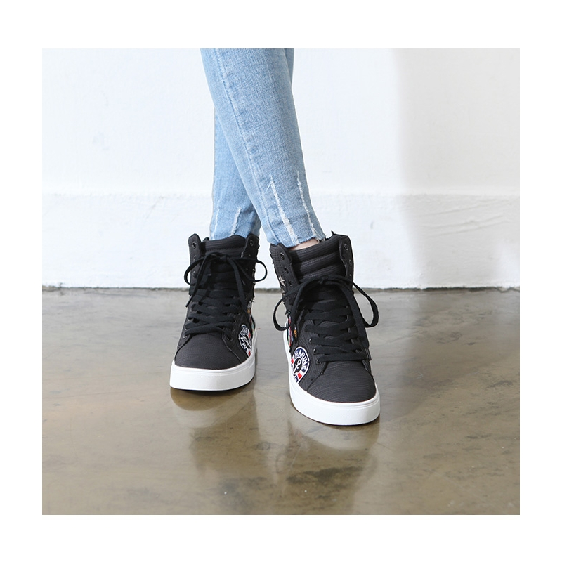 Women S Synthetic Leather Patched Lace Up High Tops