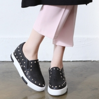 Women's synthetic leather corn spike studded hidden wedge insoles slip-on sneakers black