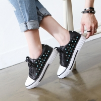 Women's real leather round rubber cap toe studded sneakers black white