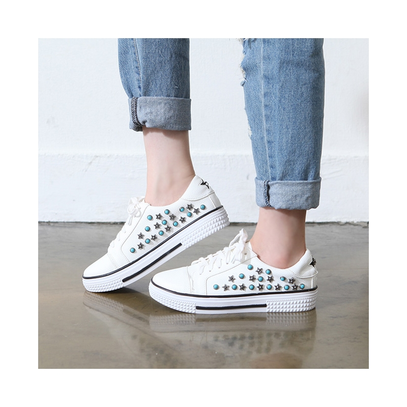 Women S Real Leather Rubber Round Cap Toe Studded Fashion