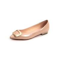 Women's pointed toe front square metallic pendant detailed pink glossy low heels loafers