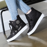 Women's glitter black white synthetic fabric metal studded sneakers