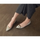 Women's pointed toe front square metallic pendant detailed mint glossy low heels loafers