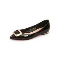 Women's pointed toe front square metallic pendant detailed black glossy low heels loafers