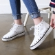Women's real leather round toe corn spike studded lace up high topssneakers
