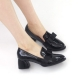 Women's round toe front ribbon pendant detailed black glossy chunky med heels pumps