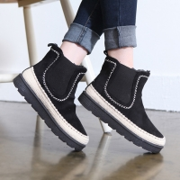 Women's synthetic suede ethnic espadrille side heel detail  chelsea  boots black gray brown