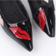 Women's pointed toe front lips patched glossy low heels loafers black green