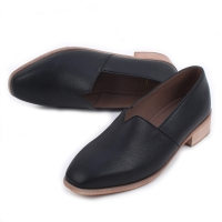 Women's square toe slip-on low heels loafers black brown