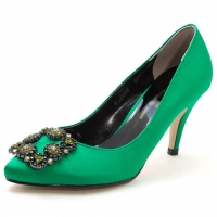 Women's synthetic silky fabric square patched pumps green black  red