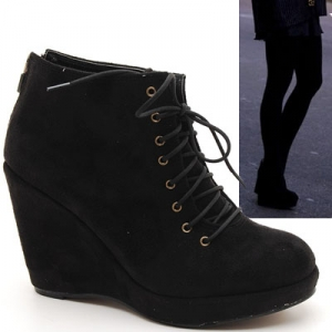 Womens Wedge Ankle Sneakers Bootie Zipper Lace-up Platform High Heel Shoes Black White
