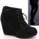 Women's synthetic black suede lace up back zip platform high wedge heels ankle boots