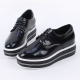 Women's glossy synthetic leather round toe thick platform lace ups oxfords black