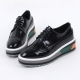 Women's glossy synthetic leather wing tips round toe thick platform lace ups oxfords black
