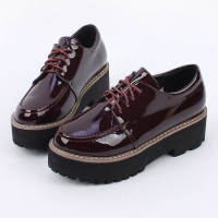 Women's Glossy Synthetic Leather Round Toe Thick Platform Lace Ups Oxfords BLACK WINE