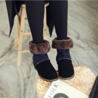Women's synthetic suede inner fur round toe boots black brown beige