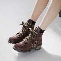 Women's synthetic leather studded side zip lace ups ankle boots black brown khaki