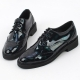 Women's wing tips punched glossy synthetic leather lace ups oxfords black green