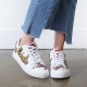 Women's glitter spangle patched lace ups white fashion sneakers