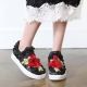 Women's round toe pop up stitch rose patched fashion sneakers slip on black