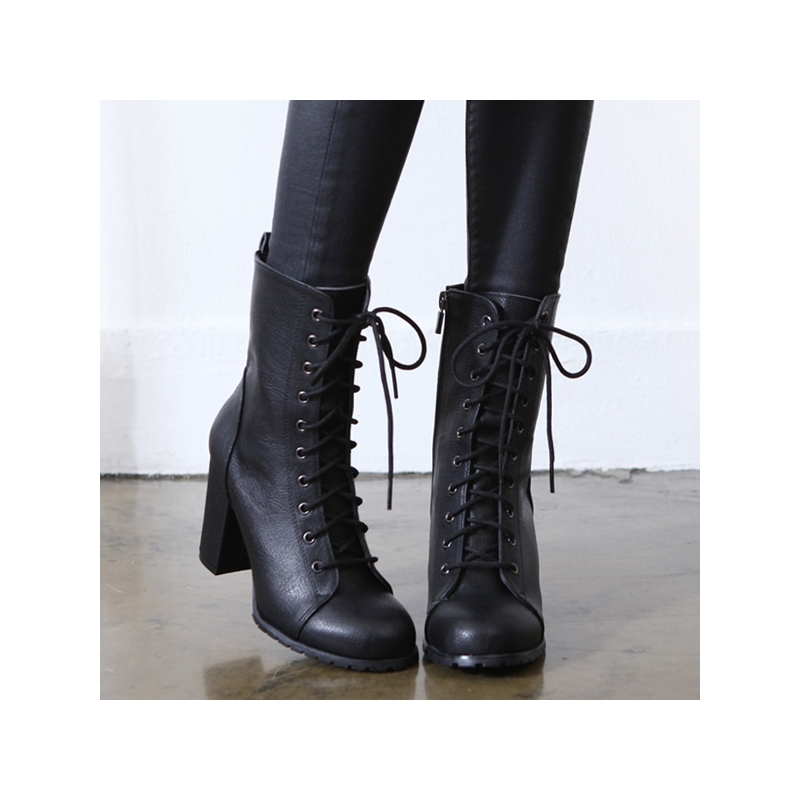Women S Round Cap Toe Chunky High Heels Ankle Boots