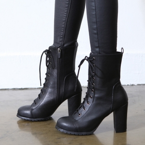 1a370c196786 Women s round cap toe synthetic leather lace up side zip up closure ankle  boots
