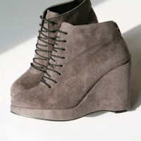 Women's gray faux suede lace up back zip high wedges heels ankle boots