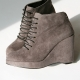 Women's gray synthetic suede lace up back zip high wedges heels booties boots