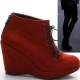 Women's red synthetic suede lace up back zip platform high wedges heels ankle boots US 6 last item