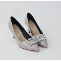 women's synthetic leather square glitter pendant classic pumps gray