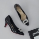 women's synthetic leather square glitter pendant classic pumps black