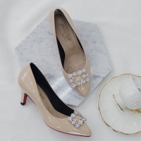 women's synthetic leather square glitter pendant classic pumps beige