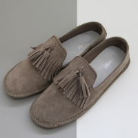 Women's real cow leather round toe frill fringe tassel flat loafers  beige