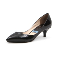 women's pointed toe black synthetic leather middle heels pumps