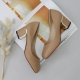 women's synthetic leather chunky med heels comfortable beige pumps