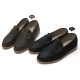 Men's matt black synthetic leather light weight penny loafers US7~US13