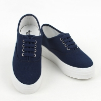 women's synthetic campus fabric comfort sneakers round toe daily shoes navy