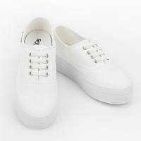 women's synthetic campus fabric comfort sneakers round toe daily shoes White