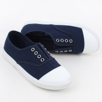 Womens chic round cap toe two tone contrast stitch insert gore  comfort wear daily fashion sneakers Korea shoes navy