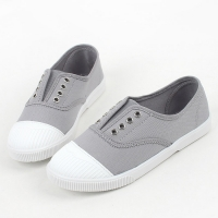 Womens chic round cap toe two tone contrast stitch insert gore  comfort wear daily fashion sneakers  Korea shoes Gray