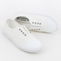 Womens chic round cap toe two tone contrast stitch insert gore  comfort wear daily fashion sneakers  Korea shoes White