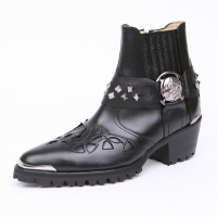 HAND-MADE Men's black Cow Leather front stitch studded side zip skull stud western ankle bike rider boots US6.5-11.5