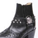 HAND-MADE Men's black Cow Leather front stitch studded side zip skull western ankle bike rider boots US6.5-11.5