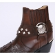 HAND-MADE Men's brown cow Leather front stitch studded side zip skull western ankle biker boots US6.5~US11.5