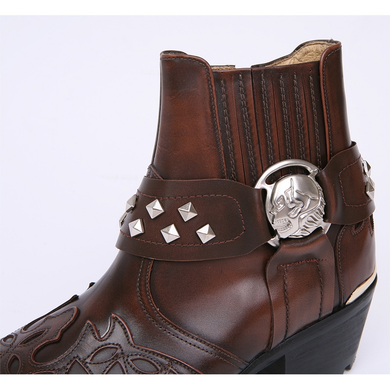 men S Brown Leather Skull Ankle Boots