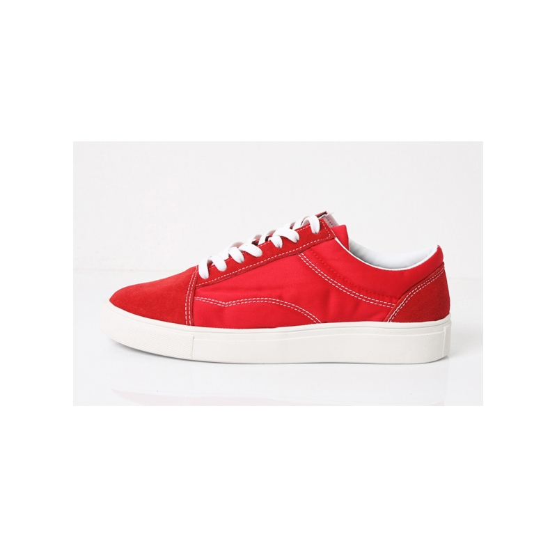 Men S Red Suede Cap Toe Fashion Sneakers